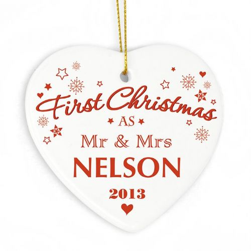 Personalised Our First Christmas' Ceramic Heart Decoration